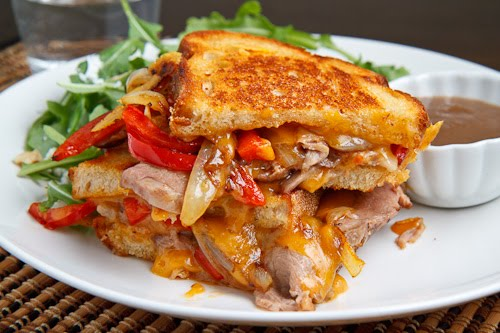Roast Beef Grilled Cheese Sandwich With Caramelized Onions Peppers And Horseradish Closet Cooking