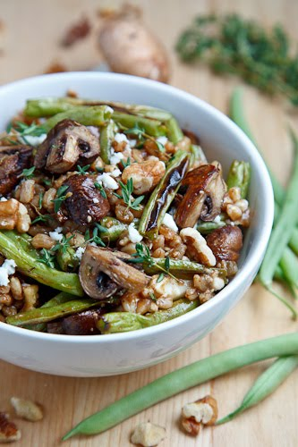 Roasted Mushroom and Green Bean Farro Salad