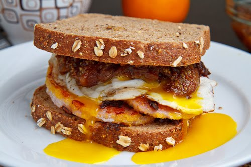 Peameal Bacon Breakfast Sandwich with Maple Caramelized Onions