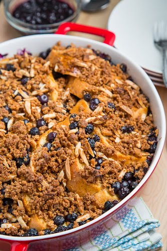 Blueberry Baked French Toast with Amaretti Crumble and Blueberry Maple Syrup
