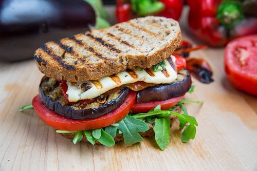 Grilled Eggplant and Roasted Red Pepper Sandwich with Halloumi Recipe