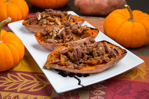 Twice Baked Bourbon Sweet Potato with Pecan Streusel (aka Individual Sweet Potato Casserole)