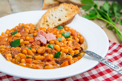 Maple, Bourbon Ham and Baked Bean Soup