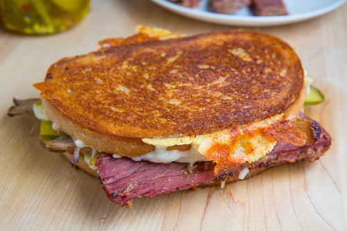 St Patrick's Day Corned Beef Cuban Grilled Cheese Sandwich