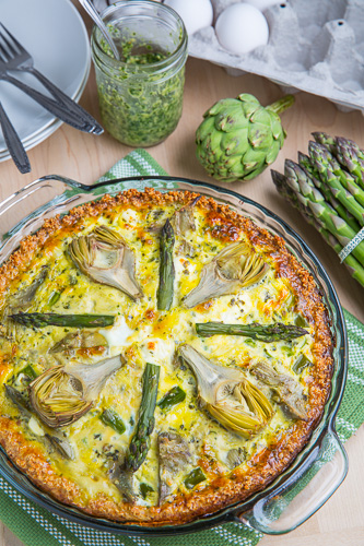 Asparagus, Baby Artichoke, Pesto and Goat Cheese Quiche with Quinoa Crust