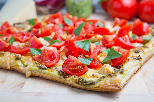 Bruschetta Chicken Pesto Tart
