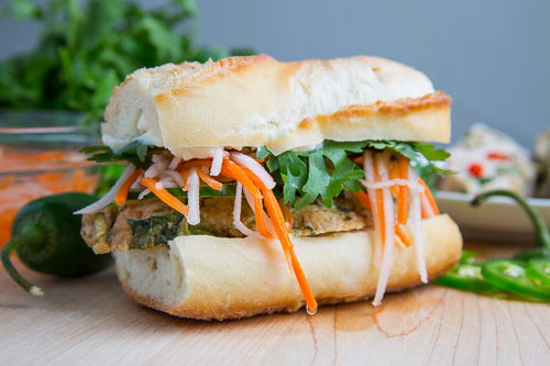 Thai Green Curry Turkey and Zucchini Meatloaf Banh Mi Sandwich