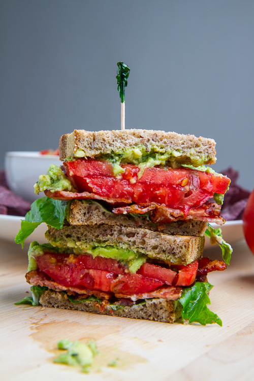 Pesto Guacamole BLT (Bacon, Lettuce and Tomato) Sandwich