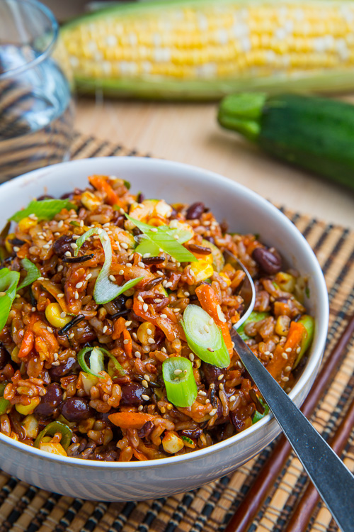 Summer Vegetable Bibimbap with Corn, Zucchini and Black Beans