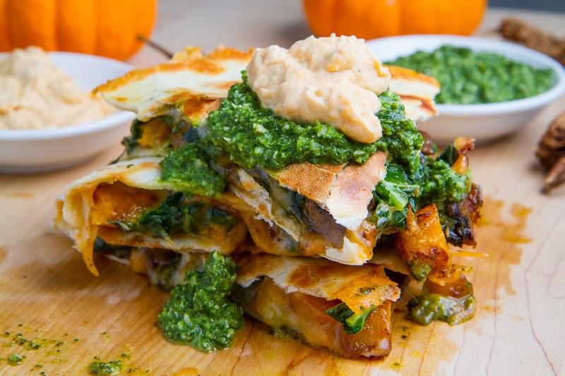 Chipotle Roasted Pumpkin, Mushroom and Kale Quesadillas with Chipotle Pumpkin Crema and Kale Salsa