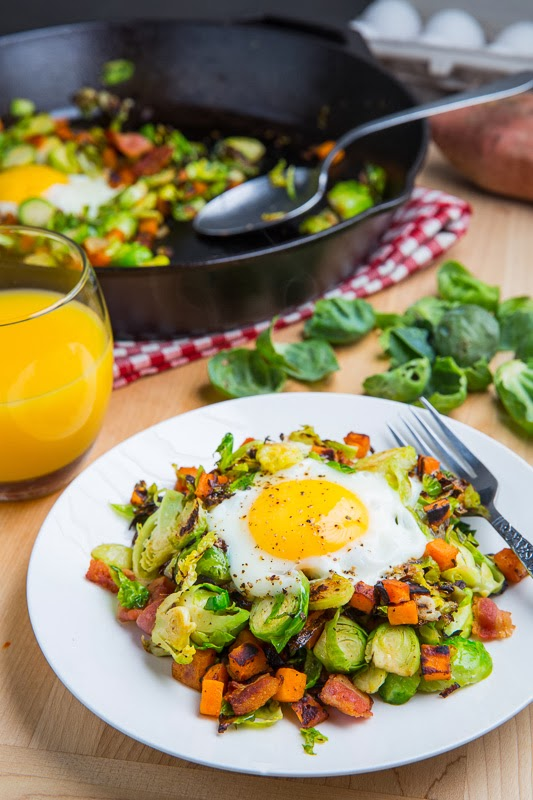 Brussels Sprouts Hash With Sweet Potatoes & Bacon, see more at http://homemaderecipes.com/healthy/18-brussel-sprout-recipes/