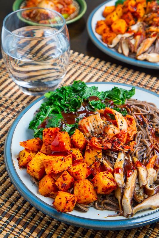 Roasted Butternut Squash, Shiitake Mushroom and Kale, Kimchi Bibimsoba