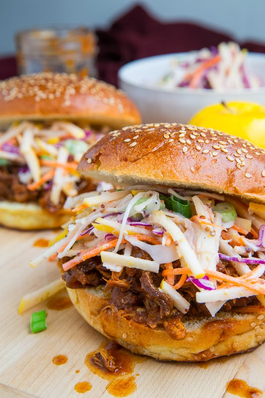 Apple BBQ Pulled Chicken Sandwiches with Apple Slaw