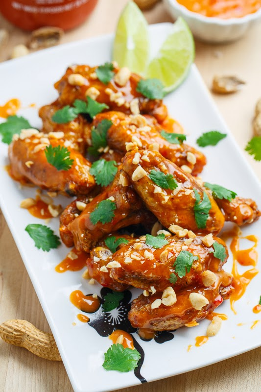Crispy Baked Peanut Sweet Chili Chicken Wings