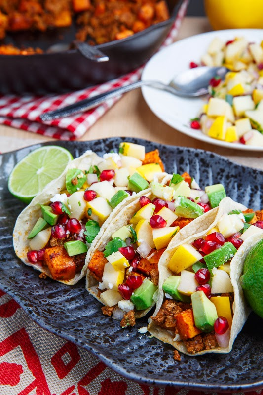 Chorizo and Sweet Potato Tacos with Apple and Pomegranate Salsa