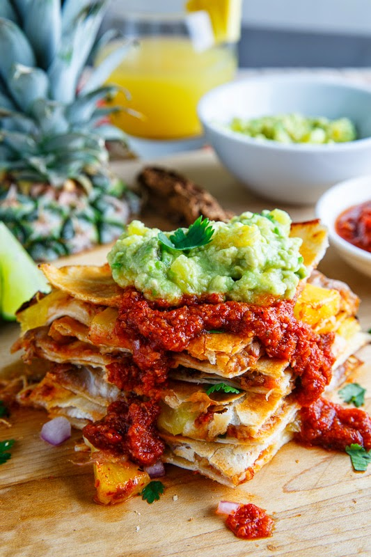 Quesadillas al Pastor with Pineapple Salsa and Pineapple Guacamole