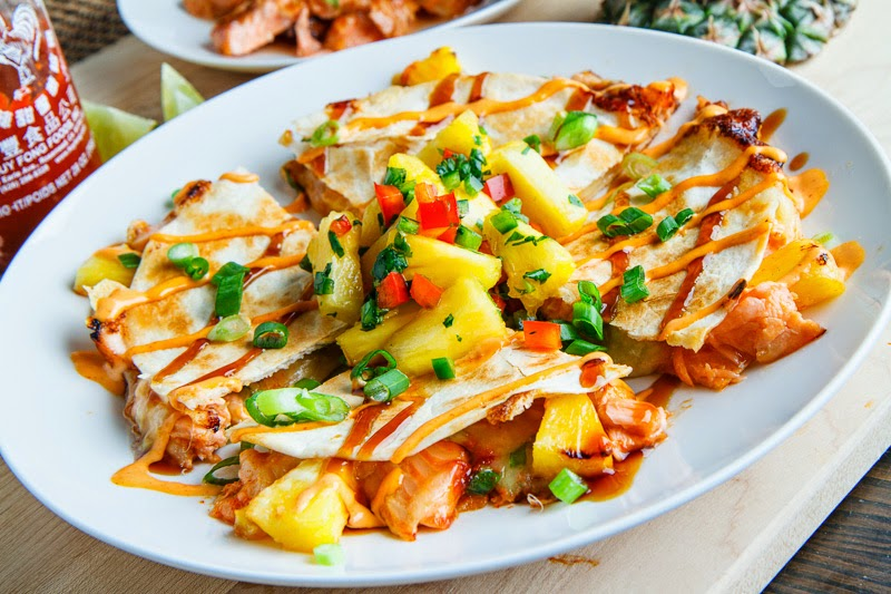 Teriyaki Salmon and Pineapple Quesadillas