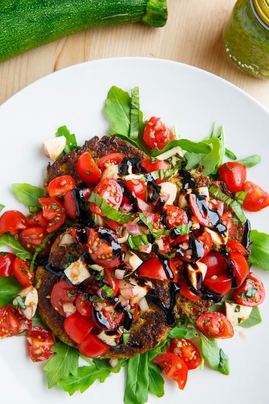 Pesto Zucchini Fritter Caprese Bruschetta