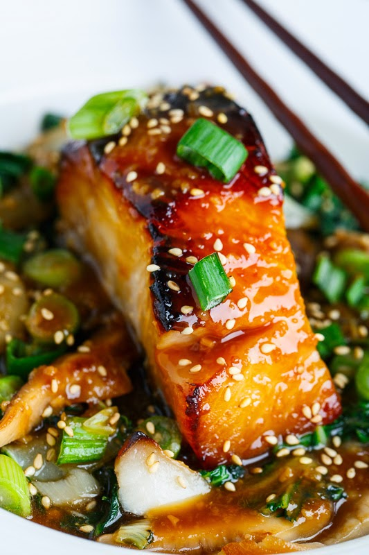 Miso Glazed Black Cod on Baby Bok Choy and Shiitake Mushrooms