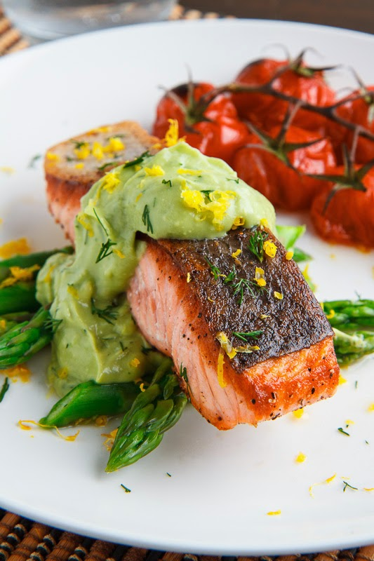 Seared Salmon in Dill Avodaise (Avocado Hollandaise) Sauce