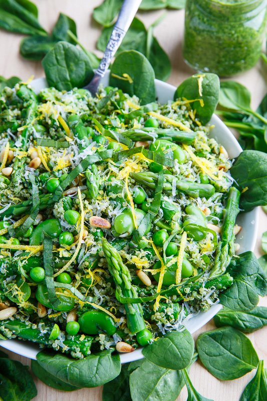 Asparagus and Pea Spinach Pesto Quinoa Salad