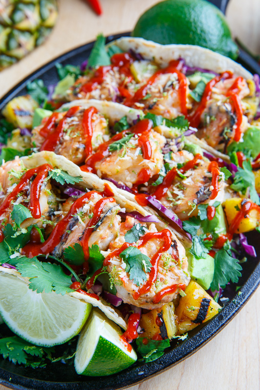 Grilled Coconut and Pineapple Sweet Chili Shrimp Tacos