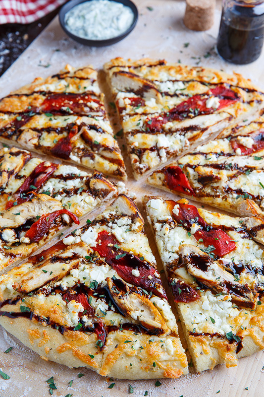 Mediterranean Grilled Chicken And Roasted Red Pepper Pizza With Feta And Balsamic Glaze Closet Cooking