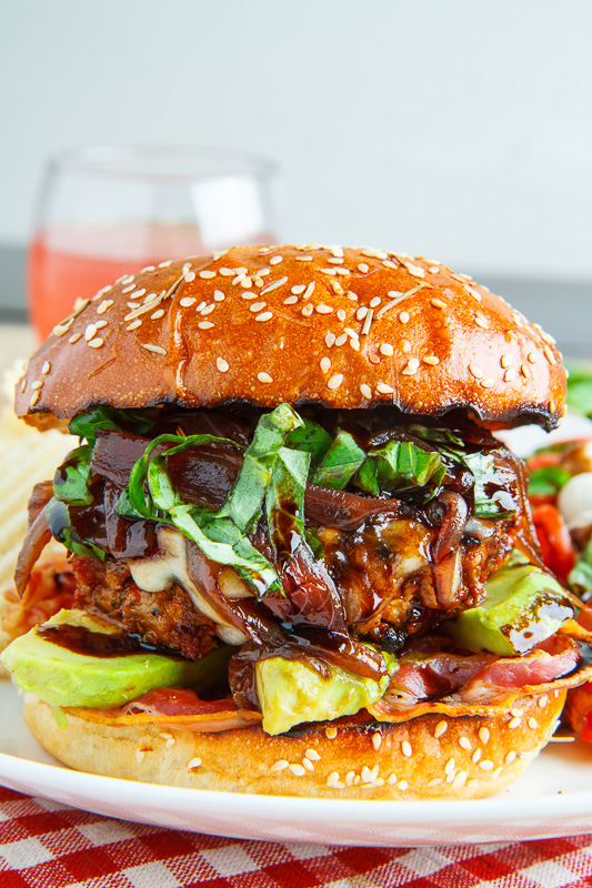 Sundried Tomato Caprese Turkey Burgers with Balsamic Caramelized Onions