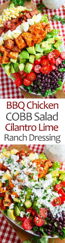 BBQ Chicken COBB Salad with Cilantro Lime Ranch Dressing