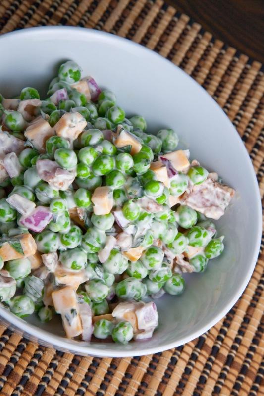 Green Pea Salad Using Frozen Peas