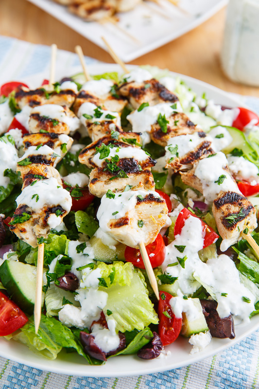 Grilled Chicken Souvlaki Salad with Creamy Feta and Dill Dressing