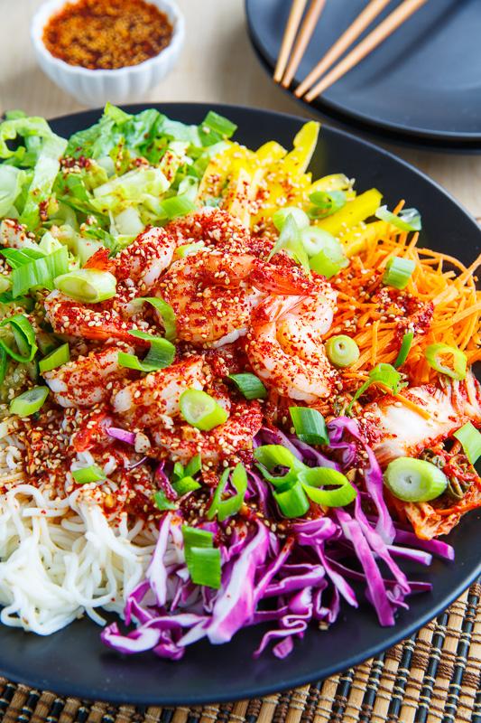 Korean Style Cold Tofu Shirataki Noodle Salad with Shrimp