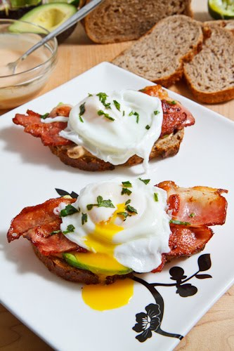 Poached Egg on Toast with Chipotle Mayonnaise, Bacon and Avocado