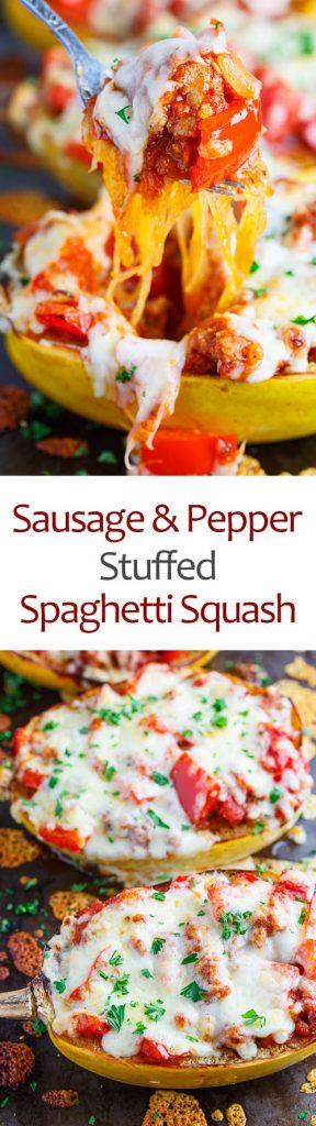 Sausage and Pepper Stuffed Spaghetti Squash