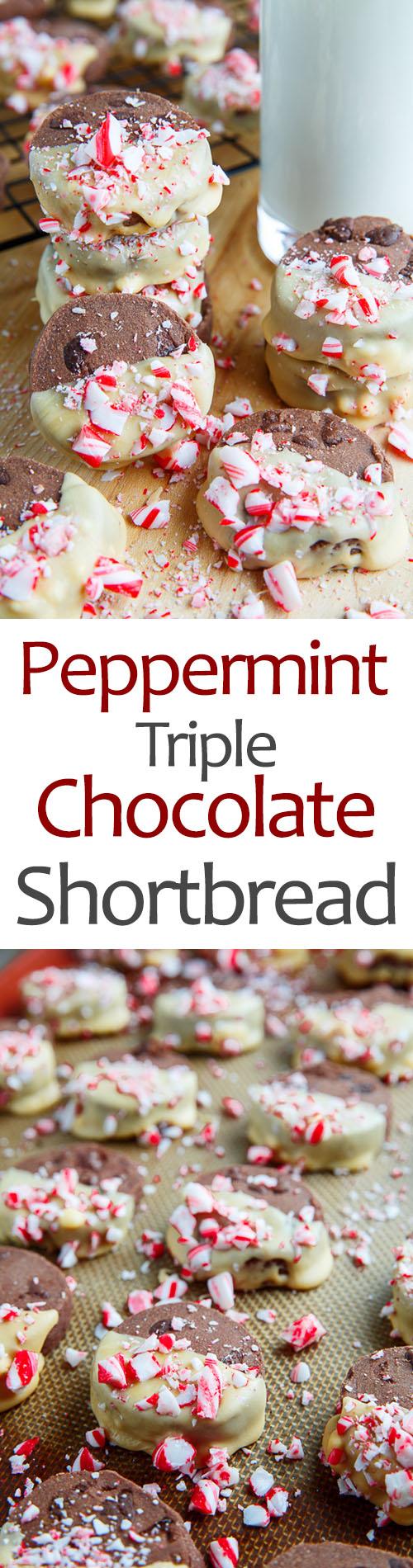 Peppermint Triple Chocolate Shortbread