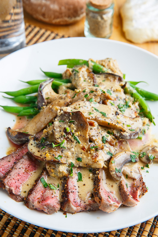 Mushroom and Peppercorn Crusted Steak with Creamy Brie Mushroom Sauce