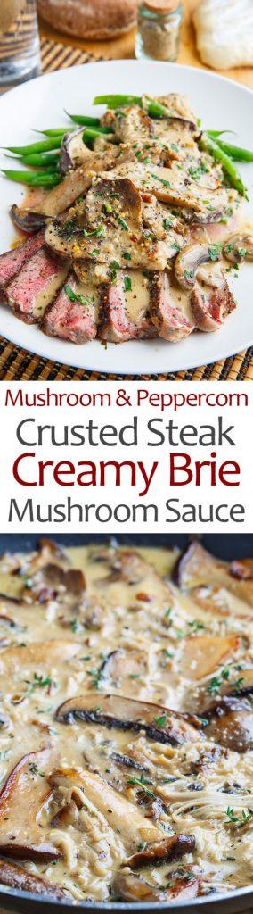 Mushroom and Peppercorn Crusted Steak in a Creamy Brie Mushroom Sauce