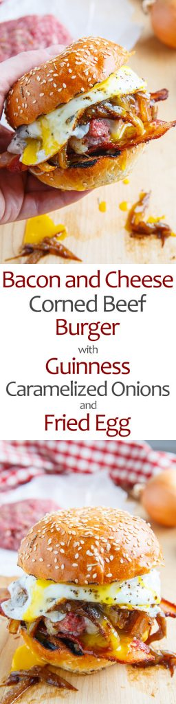 Bacon and Cheese Corned Beef Burger with Guinness Caramelized Onions and a Fried Egg