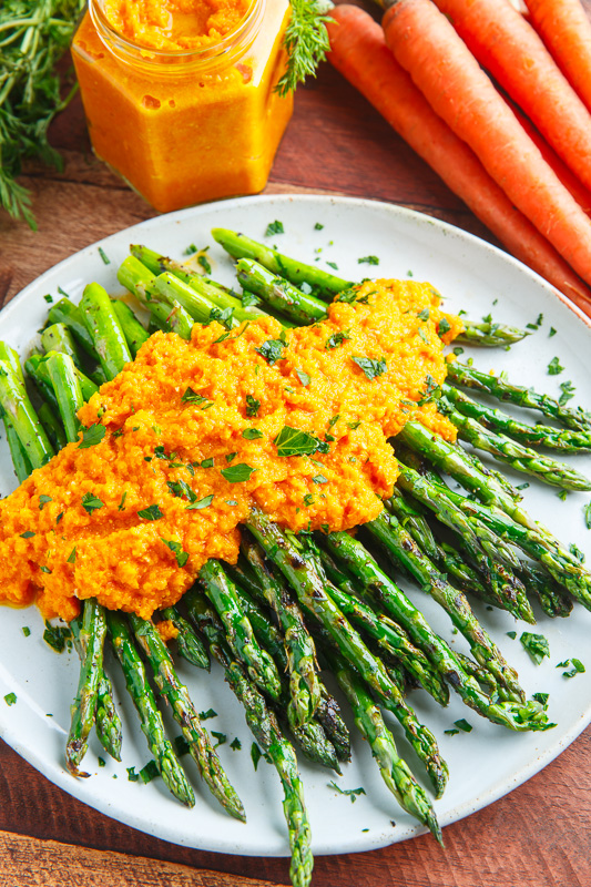 Grilled Asparagus with Carrot Ginger Dressing