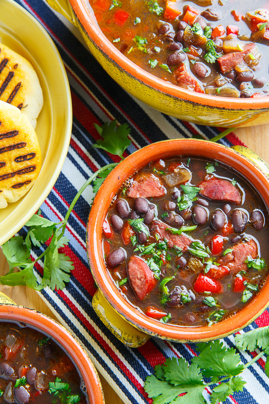 Venezuelan Black Bean and Chorizo Soup