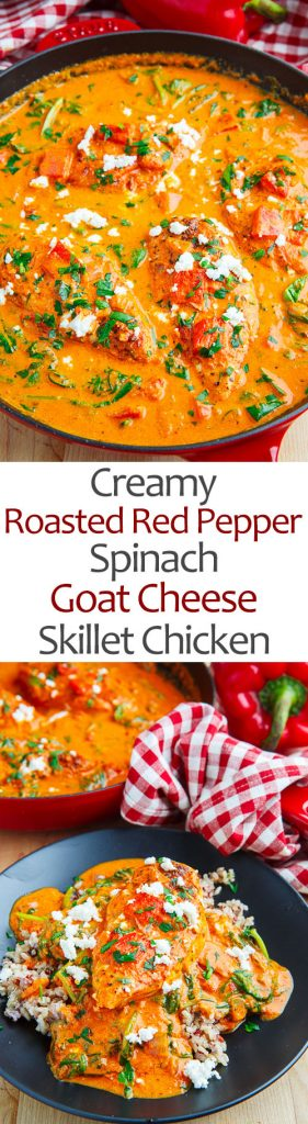 Creamy Roasted Red Pepper and Spinach Goat Cheese Skillet Chicken