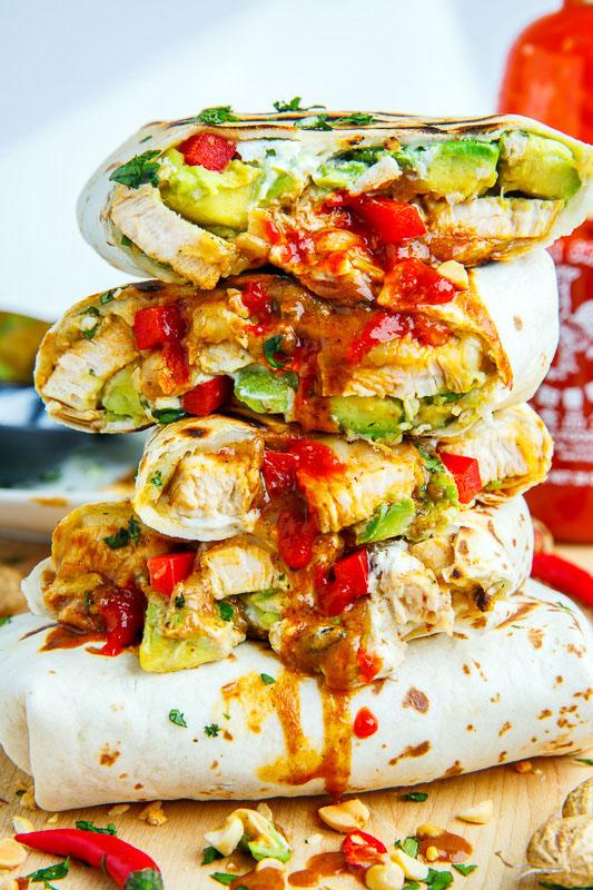 Thai Peanut Chicken Avocado Burritos
