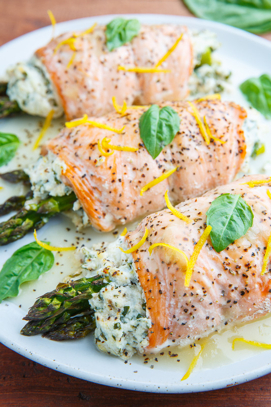 Asparagus and Lemon and Basil Ricotta Stuffed Salmon Rolls with Lemon Sauce