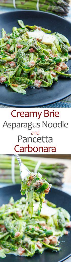 Creamy Brie Asparagus Noodle and Pancetta Carbonara