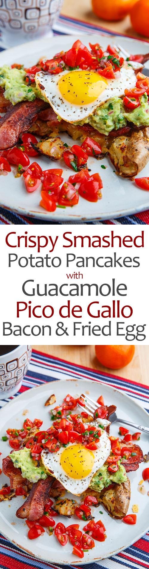 Crispy Smashed Potato Pancakes with Guacamole, Pico de Gallo, Bacon and Eggs
