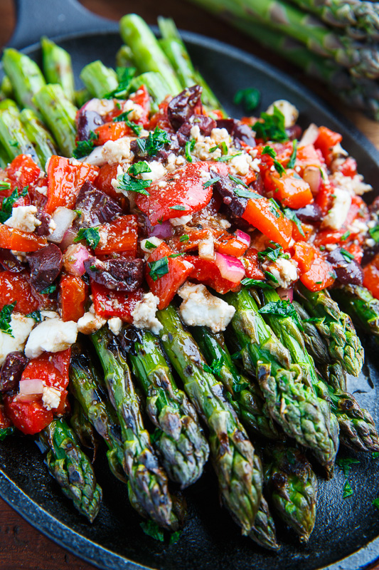 Grilled Asparagus with Marinated Roasted Red Peppers, Feta and Kalamata Olives