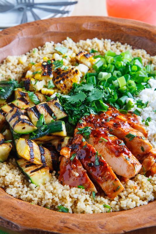 Grilled BBQ Chicken, Zucchini and Corn Quinoa Salad