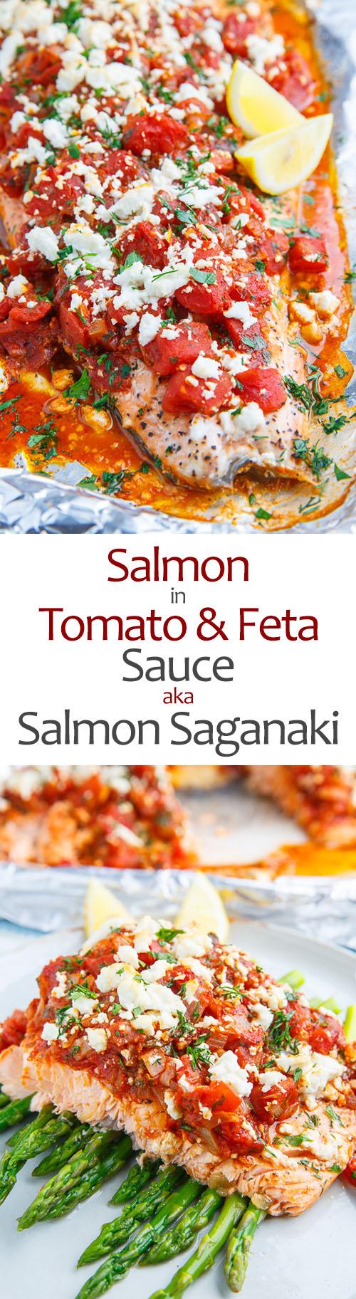 Salmon in a Tomato and Feta Sauce (aka Salmon Saganaki)