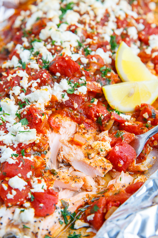 Salmon in a Tomato and Feta Sauce (aka Salmon Saganaki)