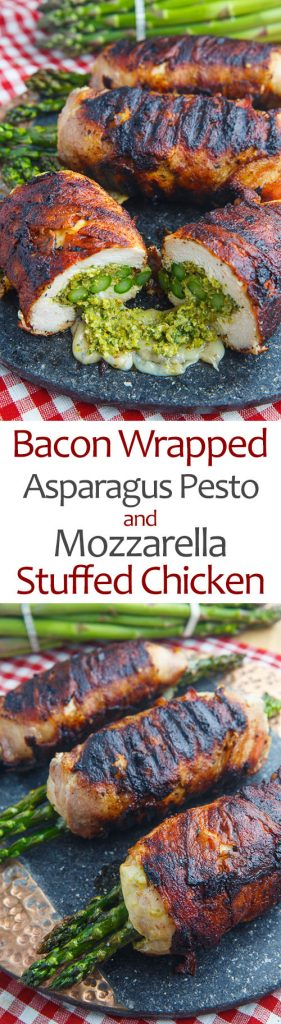 Bacon Wrapped Asparagus, Asparagus and Pistachio Pesto and Mozzarella Stuffed Chicken